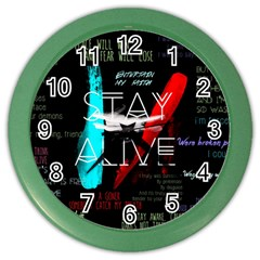 Twenty One Pilots Stay Alive Song Lyrics Quotes Color Wall Clocks