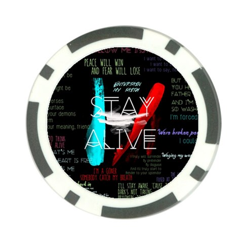 Twenty One Pilots Stay Alive Song Lyrics Quotes Poker Chip Card Guards