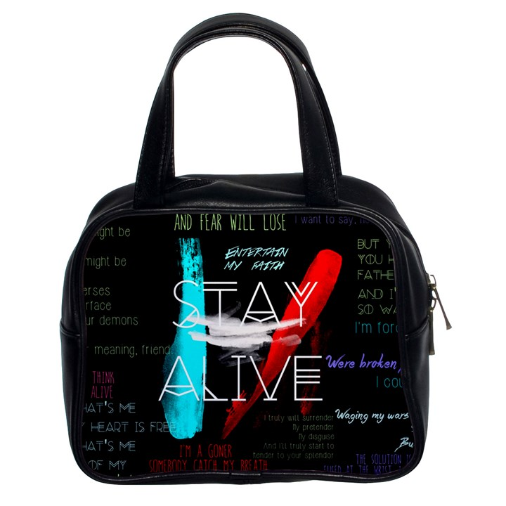 Twenty One Pilots Stay Alive Song Lyrics Quotes Classic Handbags (2 Sides)