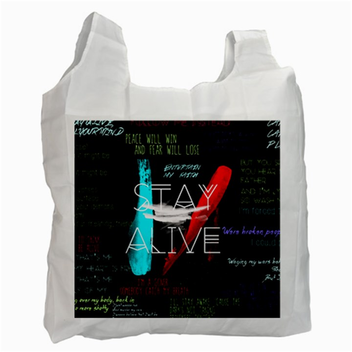 Twenty One Pilots Stay Alive Song Lyrics Quotes Recycle Bag (Two Side)