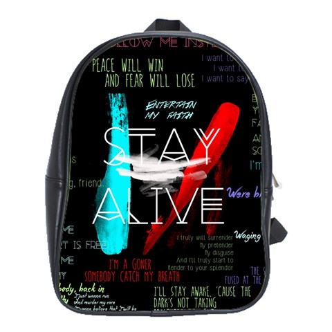 Twenty One Pilots Stay Alive Song Lyrics Quotes School Bags(Large)