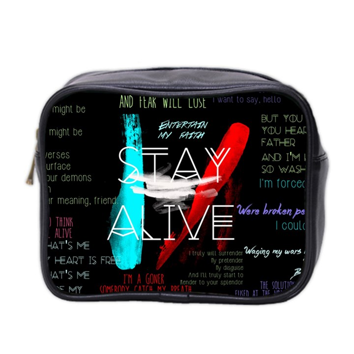 Twenty One Pilots Stay Alive Song Lyrics Quotes Mini Toiletries Bag 2-Side