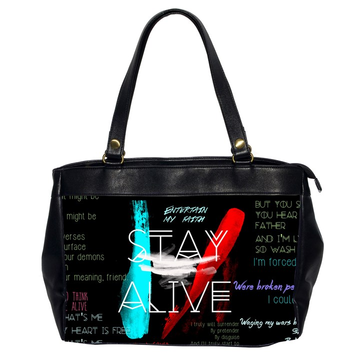 Twenty One Pilots Stay Alive Song Lyrics Quotes Office Handbags (2 Sides)