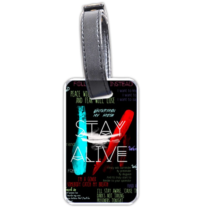 Twenty One Pilots Stay Alive Song Lyrics Quotes Luggage Tags (Two Sides)