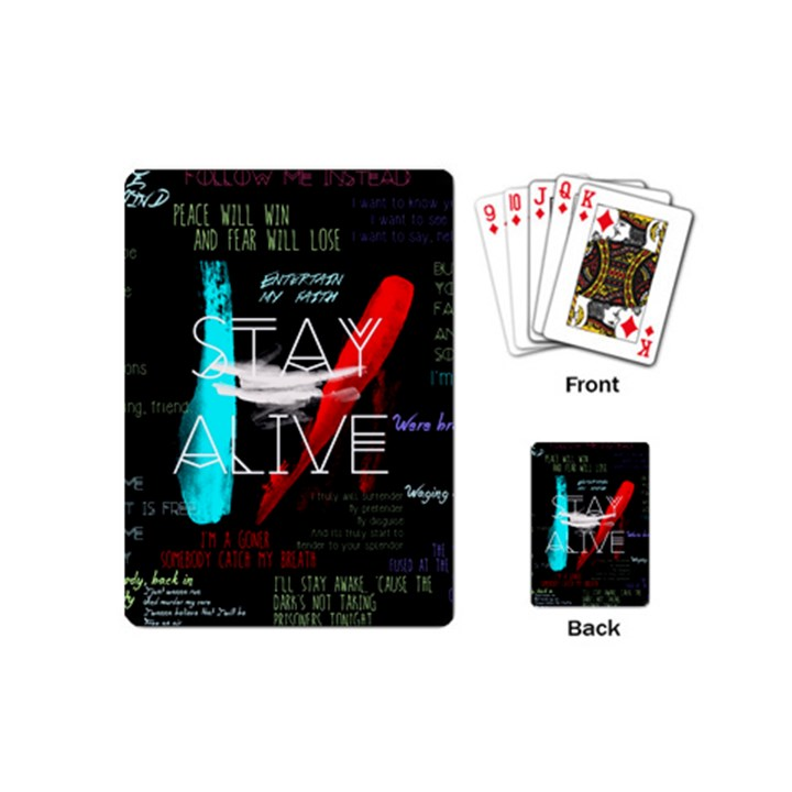 Twenty One Pilots Stay Alive Song Lyrics Quotes Playing Cards (Mini)