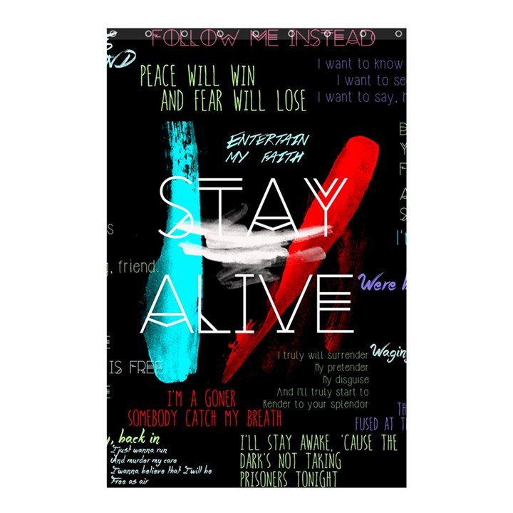 Twenty One Pilots Stay Alive Song Lyrics Quotes Shower Curtain 48  x 72  (Small)