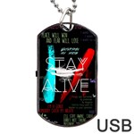 Twenty One Pilots Stay Alive Song Lyrics Quotes Dog Tag USB Flash (Two Sides)  Back