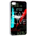 Twenty One Pilots Stay Alive Song Lyrics Quotes Apple iPhone 4/4s Seamless Case (White) Front