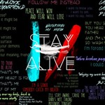 Twenty One Pilots Stay Alive Song Lyrics Quotes Twin Hearts 3D Greeting Card (8x4) Inside