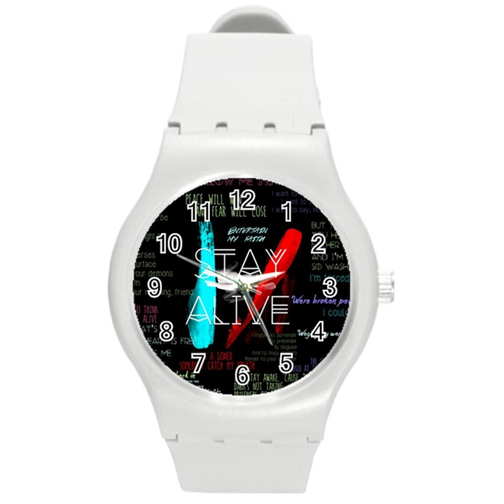 Twenty One Pilots Stay Alive Song Lyrics Quotes Round Plastic Sport Watch (M)