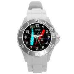 Twenty One Pilots Stay Alive Song Lyrics Quotes Round Plastic Sport Watch (l)