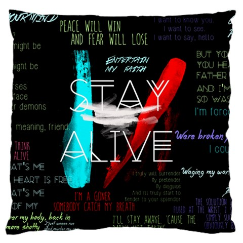 Twenty One Pilots Stay Alive Song Lyrics Quotes Large Cushion Case (One Side)