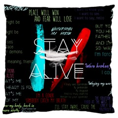 Twenty One Pilots Stay Alive Song Lyrics Quotes Large Cushion Case (Two Sides)