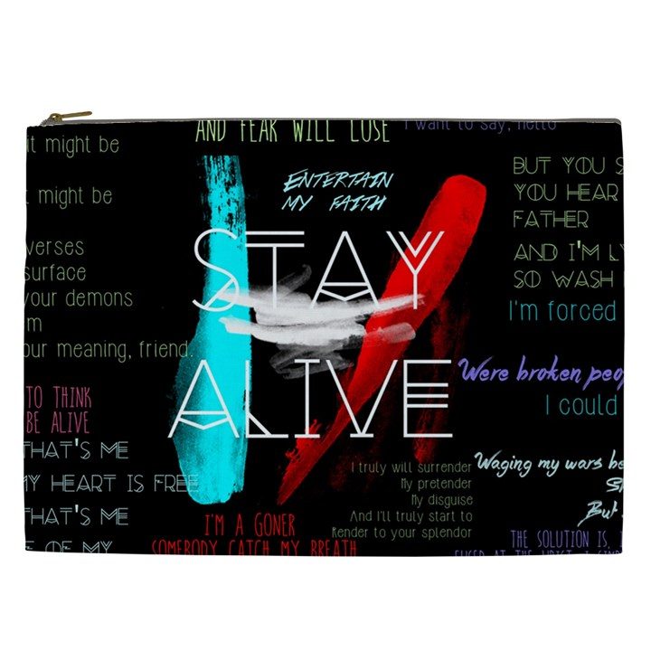 Twenty One Pilots Stay Alive Song Lyrics Quotes Cosmetic Bag (XXL)