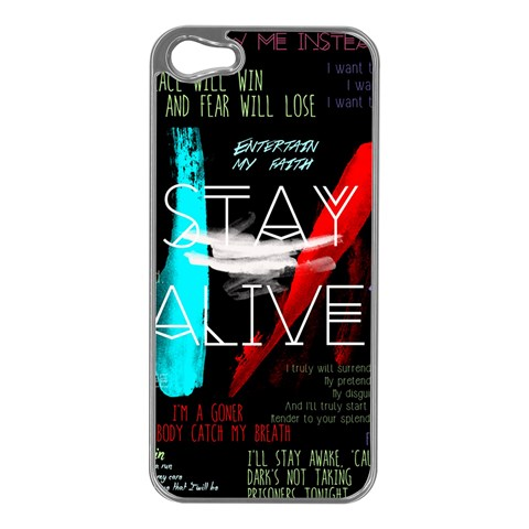 Twenty One Pilots Stay Alive Song Lyrics Quotes Apple iPhone 5 Case (Silver)