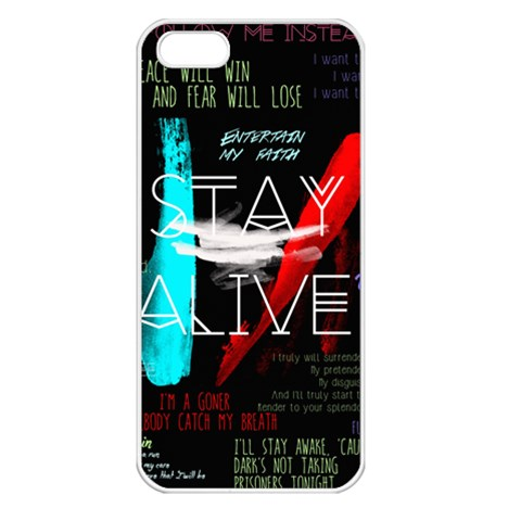 Twenty One Pilots Stay Alive Song Lyrics Quotes Apple iPhone 5 Seamless Case (White)