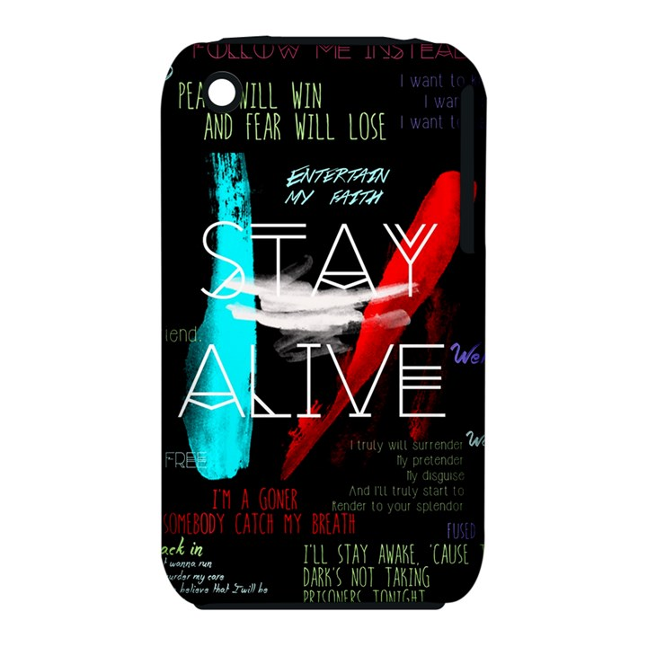Twenty One Pilots Stay Alive Song Lyrics Quotes Apple iPhone 3G/3GS Hardshell Case (PC+Silicone)