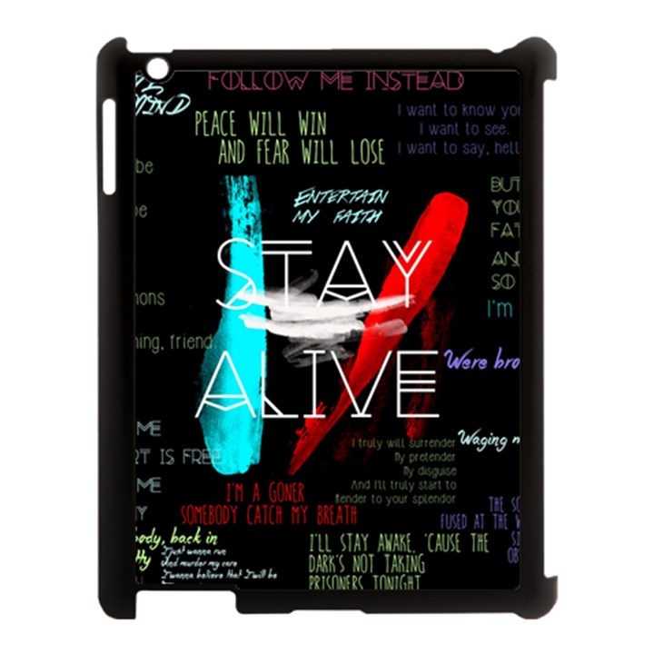 Twenty One Pilots Stay Alive Song Lyrics Quotes Apple iPad 3/4 Case (Black)