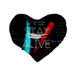 Twenty One Pilots Stay Alive Song Lyrics Quotes Standard 16  Premium Heart Shape Cushions Back