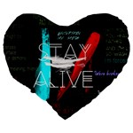 Twenty One Pilots Stay Alive Song Lyrics Quotes Large 19  Premium Heart Shape Cushions Back