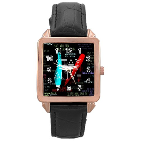 Twenty One Pilots Stay Alive Song Lyrics Quotes Rose Gold Leather Watch