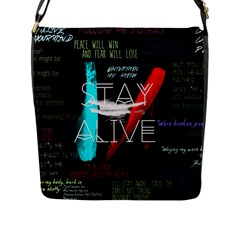 Twenty One Pilots Stay Alive Song Lyrics Quotes Flap Messenger Bag (l)