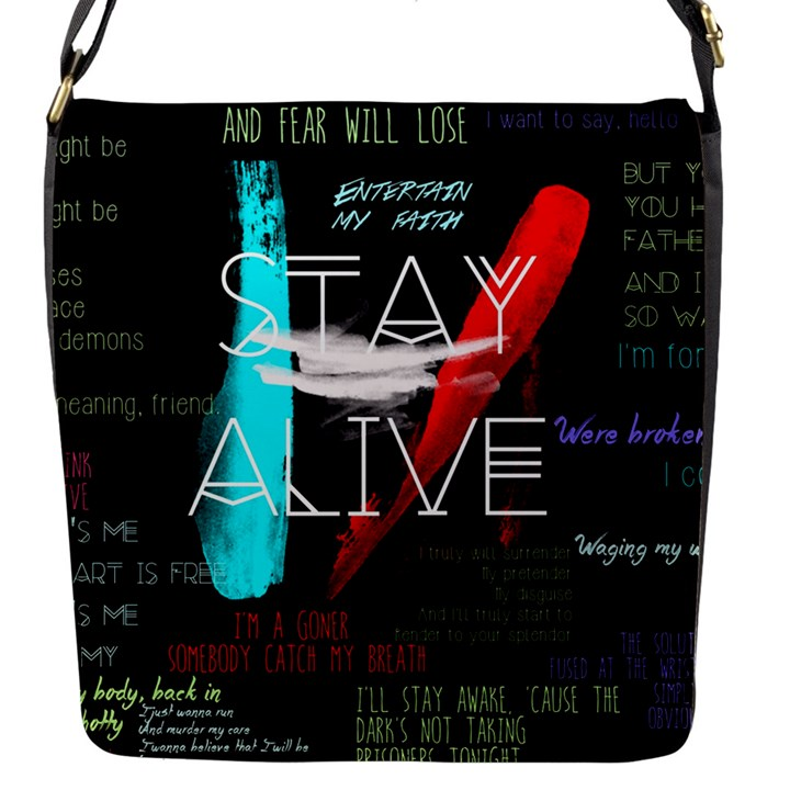 Twenty One Pilots Stay Alive Song Lyrics Quotes Flap Messenger Bag (S)