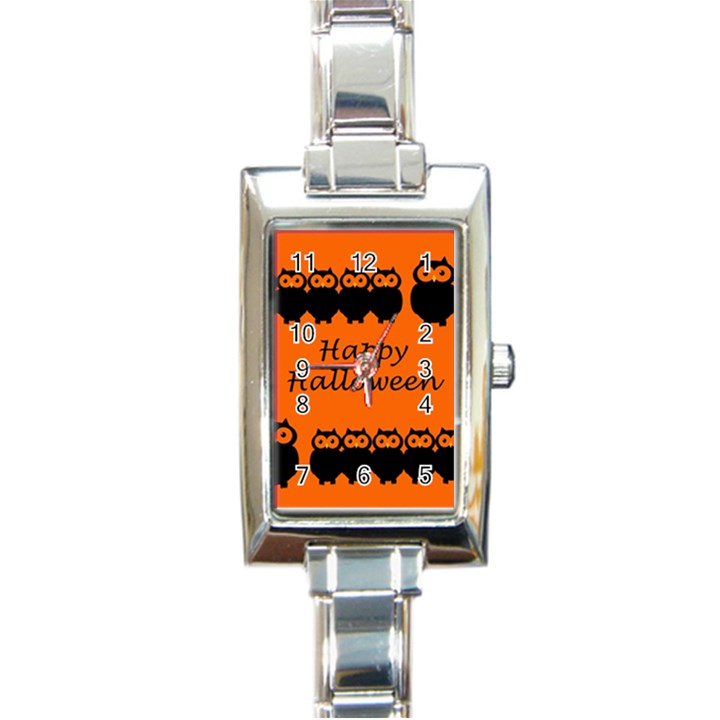 Happy Halloween - owls Rectangle Italian Charm Watch