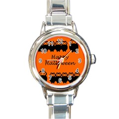 Happy Halloween - owls Round Italian Charm Watch