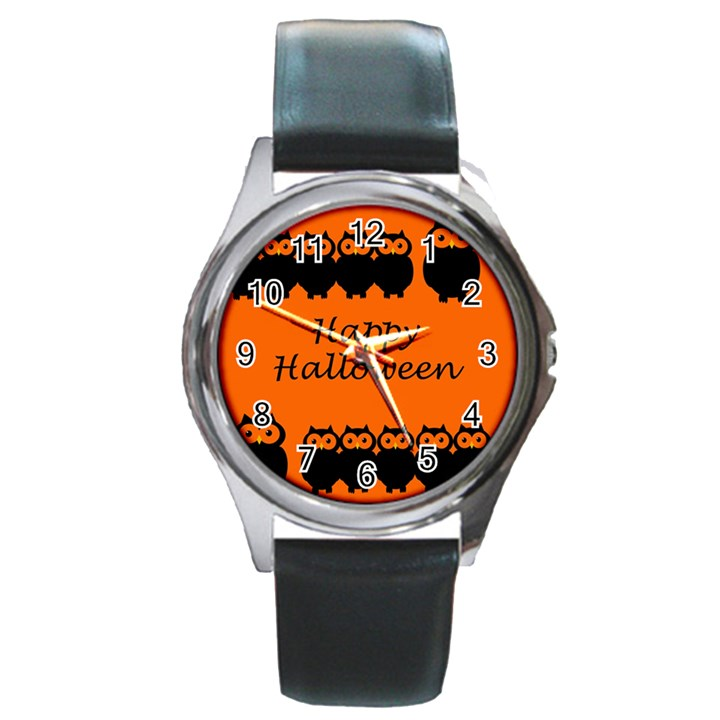 Happy Halloween - owls Round Metal Watch