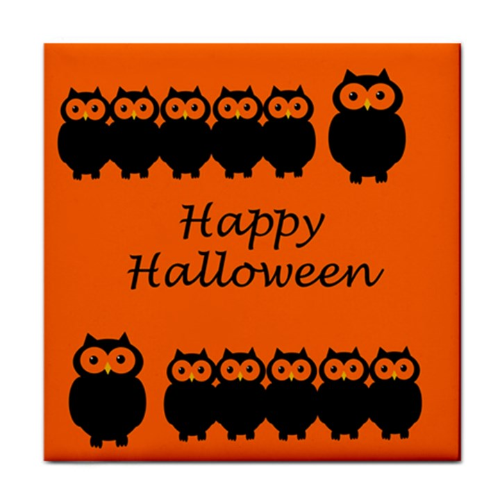 Happy Halloween - owls Tile Coasters