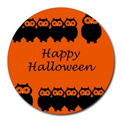 Happy Halloween   Owls Round Mousepads
