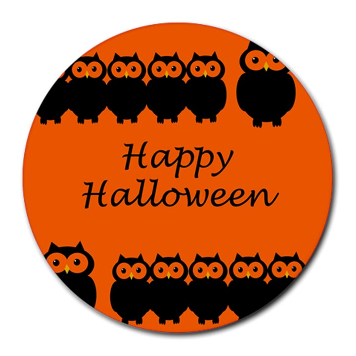 Happy Halloween - owls Round Mousepads