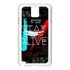 Twenty One Pilots Stay Alive Song Lyrics Quotes Samsung Galaxy Note 3 N9005 Case (White)