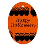 Happy Halloween - owls Ornament (Oval)  Front