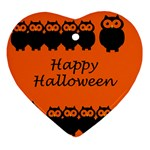 Happy Halloween - owls Ornament (Heart)  Front