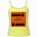 Happy Halloween - owls Yellow Spaghetti Tank Front