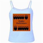 Happy Halloween - owls Baby Blue Spaghetti Tank Front