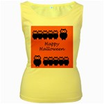 Happy Halloween - owls Women s Yellow Tank Top Front