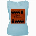 Happy Halloween - owls Women s Baby Blue Tank Top Front