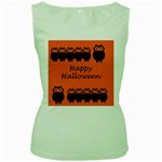 Happy Halloween - owls Women s Green Tank Top Front