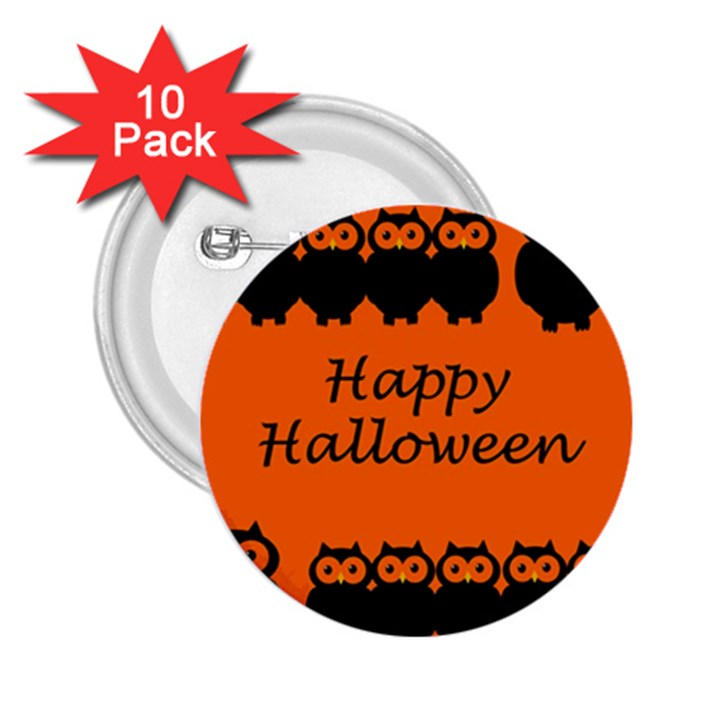 Happy Halloween - owls 2.25  Buttons (10 pack)