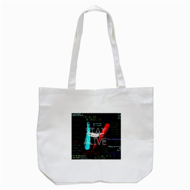 Twenty One Pilots Stay Alive Song Lyrics Quotes Tote Bag (White)