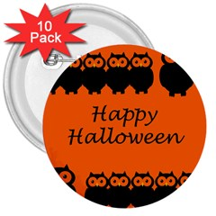 Happy Halloween   Owls 3  Buttons (10 Pack)