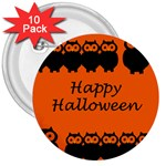 Happy Halloween - owls 3  Buttons (10 pack)  Front