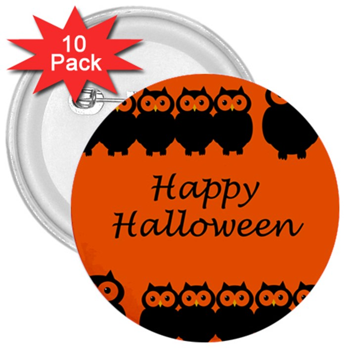 Happy Halloween - owls 3  Buttons (10 pack)