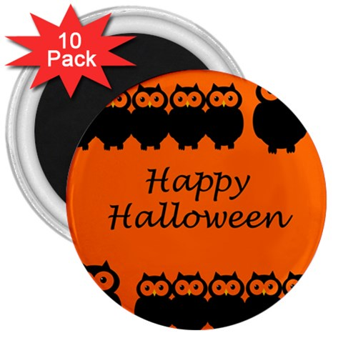 Happy Halloween - owls 3  Magnets (10 pack)