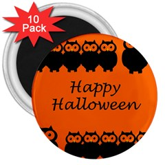 Happy Halloween   Owls 3  Magnets (10 Pack)