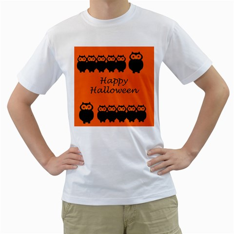 Happy Halloween - owls Men s T-Shirt (White) (Two Sided)