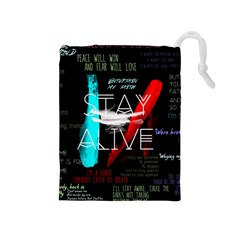 Twenty One Pilots Stay Alive Song Lyrics Quotes Drawstring Pouches (Medium)